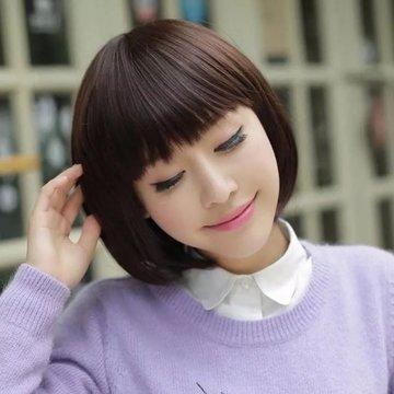 美元素假发 女短发波波头 甜美可爱齐刘海bobo头假头发 短发型 女士