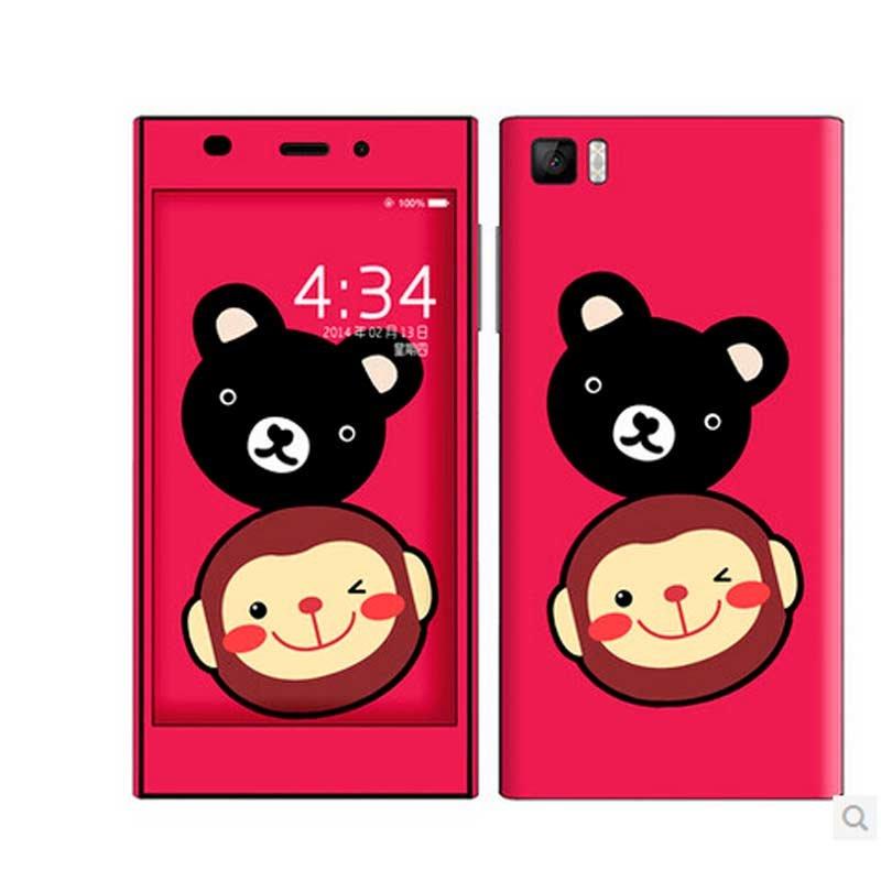 2卡通米奇保护膜小米m2可爱手机贴纸潮(小猴与小熊)大嘴鸟保护套图片