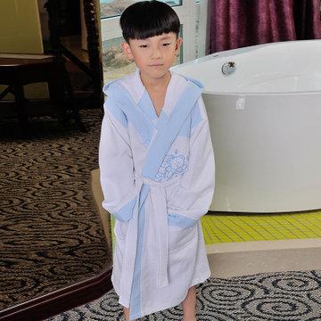 海利源男女儿童纯棉 华夫格浴袍 毛巾料浴袍洗澡小孩游泳浴衣有帽