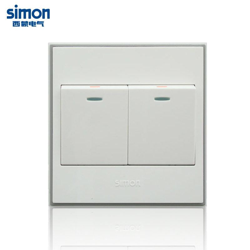 西蒙(simon)56c系列双开双控面板双位双极开关v51022byt 雅白