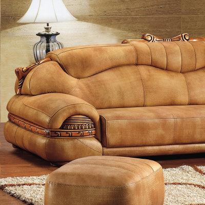 俏夫人 皮沙发客厅组合欧式中厚皮质大款沙发f07#(如图色 三人位 右