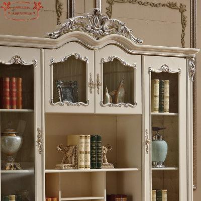 法式雕花实木四门书柜 欧式玻璃窗户书柜 实木书架书橱书房家具