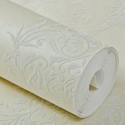 欧式大马士革壁纸 卧室 客厅 背景墙 (浅米色 帝菲)