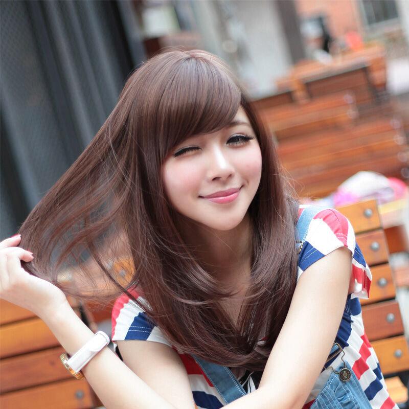 美元素假发 女 长直发齐刘海甜美可爱长发型 夏季清凉