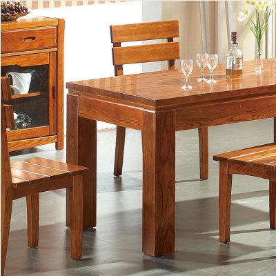 木帆 高端全实木餐桌 西餐台 榆木方桌 饭桌椅套装 jf