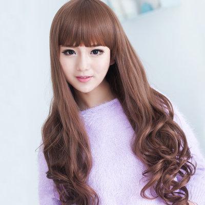 美头型元素女假发发时尚a头型齐刘海大波浪仿长卷尖配什么扎发11岁图片