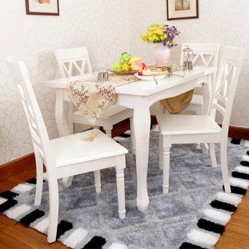 海木源林家具 欧式实木餐桌椅 象牙白钢琴烤漆弯腿餐桌餐椅 法式田园