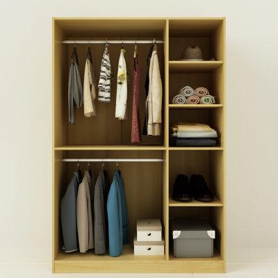 择木宜居 衣柜 卧室平开门板式衣柜 韩式田园衣帽间双门衣柜(铁灰色两