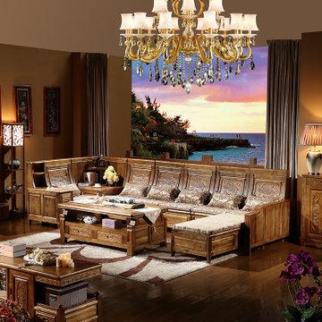 品尚美家 实木沙发客厅家具组合 现代中式 实木 香樟木古典精致雕花