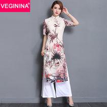 VEGININA 长款改良修身优雅日常中国风旗袍连衣裙女 2977(鸟语花香 XXL)