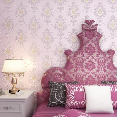 3d立体欧式田园莲子花 电视背景墙壁纸卧室客厅满铺(淡粉色)