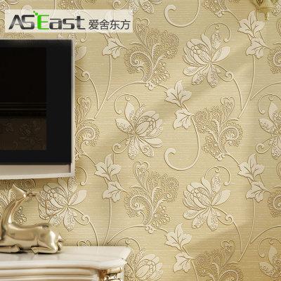 爱舍东方 欧式田园无纺布壁纸卧室 3d立体花型墙纸 客厅满铺(0202米