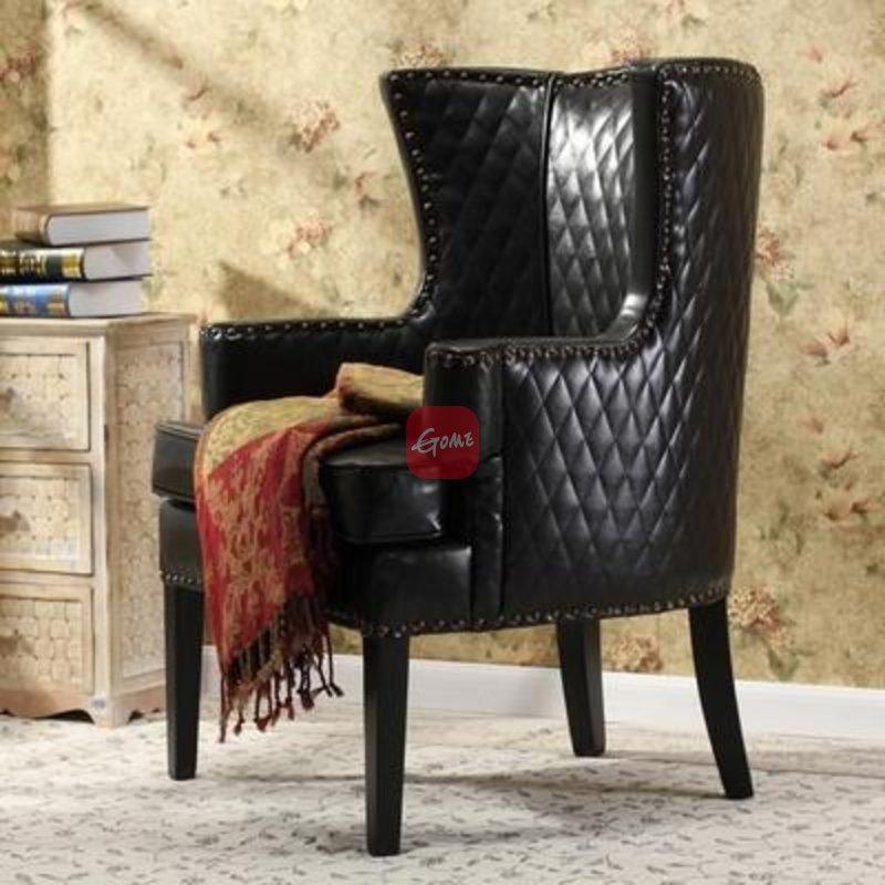 【百伽】欧式皮质沙发椅 简欧单人沙发 新古典风格休闲椅 四色可选直