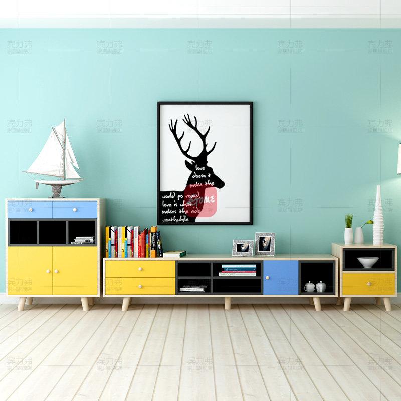 宾力弗 北欧简约免漆板茶几电视柜组合(图片色 餐边柜图片
