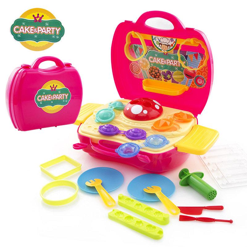 手提箱手工橡皮泥不干3d彩泥玩具超轻粘土过家家玩具(恐龙彩泥)