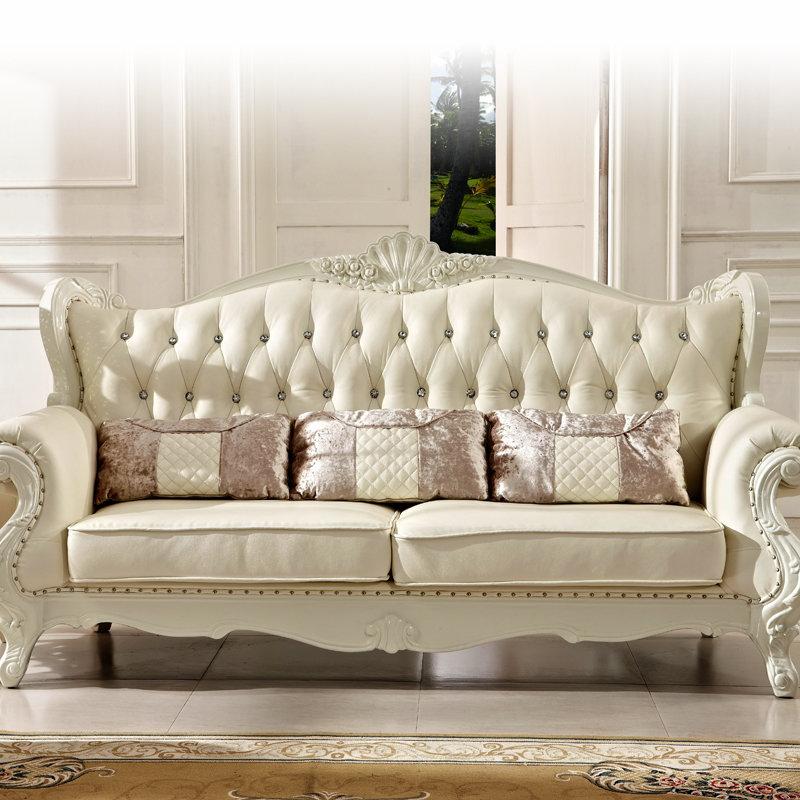 沙发圣罗伦 欧式沙发 白色真皮沙发 实木真皮沙发组合 法式新古典包邮