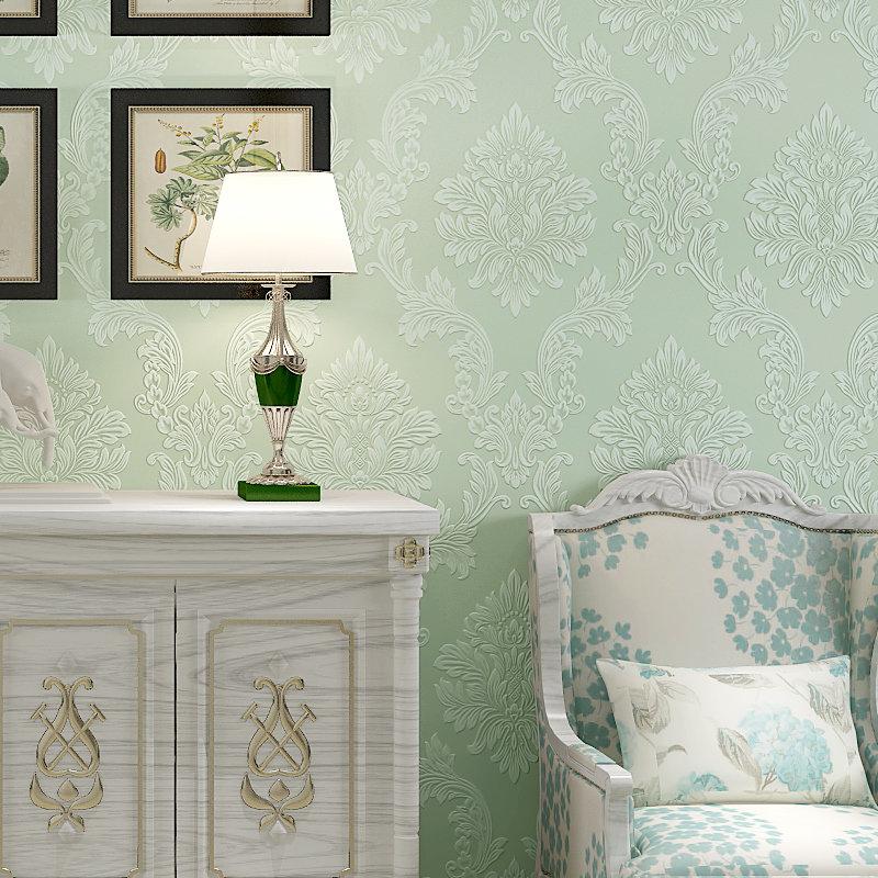 睐可欧式大马士革墙纸 环保无纺布b款竖条壁纸 卧室客厅满铺背景(ly-9