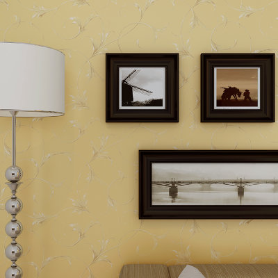 简约欧式珠光无纺布壁纸 温馨卧室客厅满铺墙纸nwe-a(003米黄色)