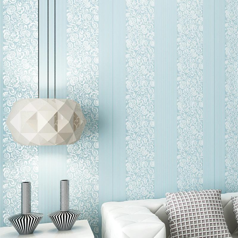 欧式时尚竖条纹墙纸 3d环保无纺布植绒壁纸 客厅卧室餐厅(天蓝色bem