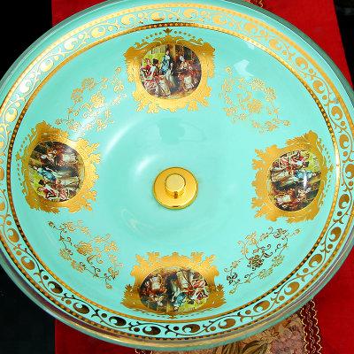 欧瑞雅 创意现代中式客厅餐桌茶几书房玄关家居装饰摆件 欧式复古翡翠