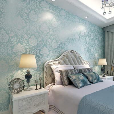 欧式大马士革无纺布墙纸客厅壁纸电视背景墙卧室满铺墙纸锦绣(蓝绿色)