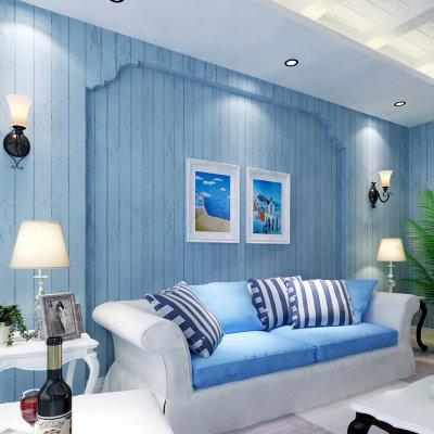 怀旧卧室客厅电视背景墙条纹墙纸(浅蓝色)