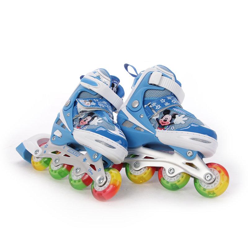 disney/迪士尼轮滑鞋 儿童旱冰鞋滑冰鞋可调 溜冰鞋儿童套装八轮全闪