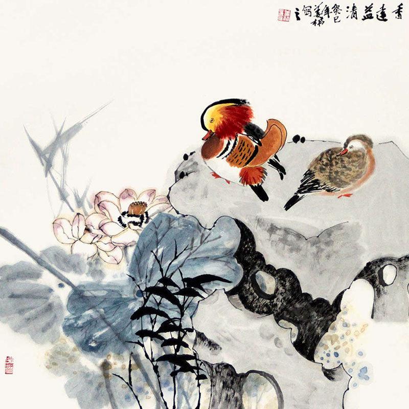 姜楠 香远益清>国画花鸟画水墨写意荷花莲花鸳鸯岩石斗方