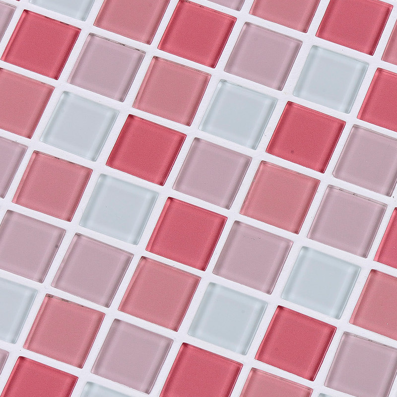 賽萊雅水晶玻璃馬賽克衛生間瓷磚電視機背景墻泳池廚房拼圖拼花(粉色