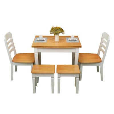 一米色彩 餐桌 饭桌实木餐椅简约现代中式木凳子酒店饭店家用餐厅白色