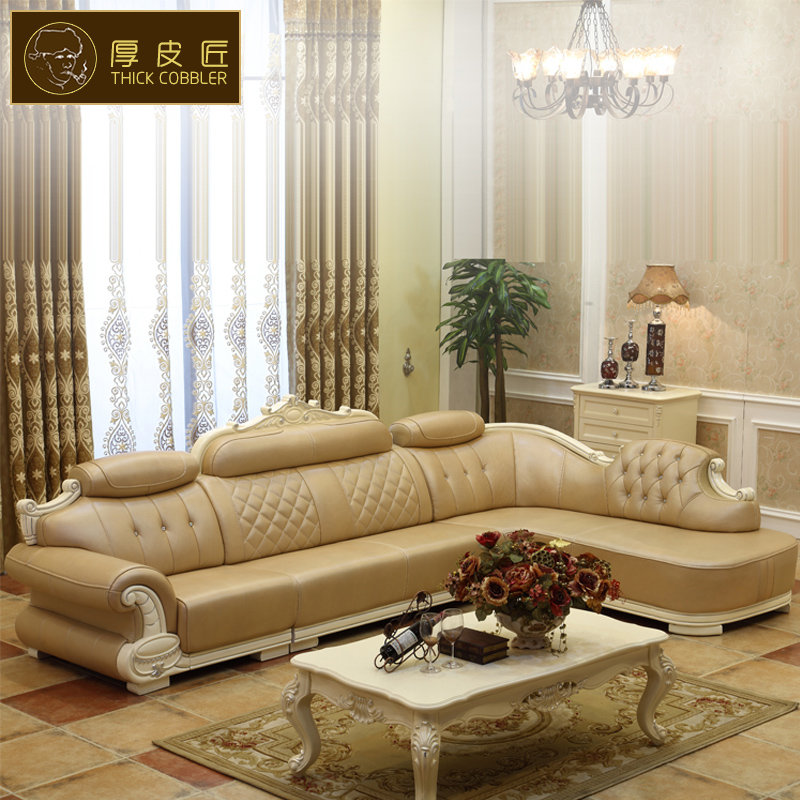 欧式皮沙发 实木法式客厅大小户型转角家具五包到家(香槟色 双扶手