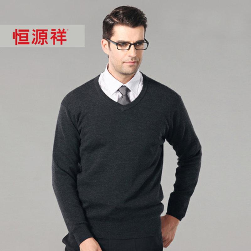 恒源祥羊毛衫中老年男士商务休闲薄款毛衣100%纯羊毛