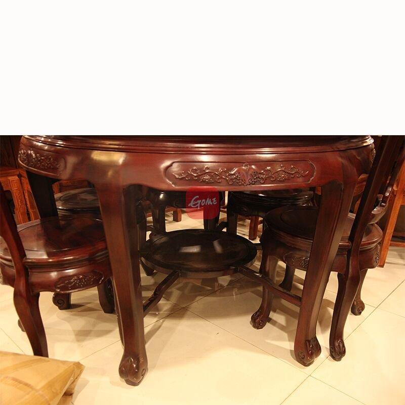 2米红木餐桌实木圆形饭桌六人位圆台非洲酸枝木
