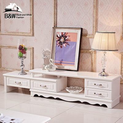 黑白欧风尚简约现代欧式电视柜2米客厅家具组合茶几套装伸缩机柜(茉莉
