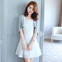 莉菲姿 夏裝新款時尚修身 披風斗篷款連衣裙短裙(白色 M)