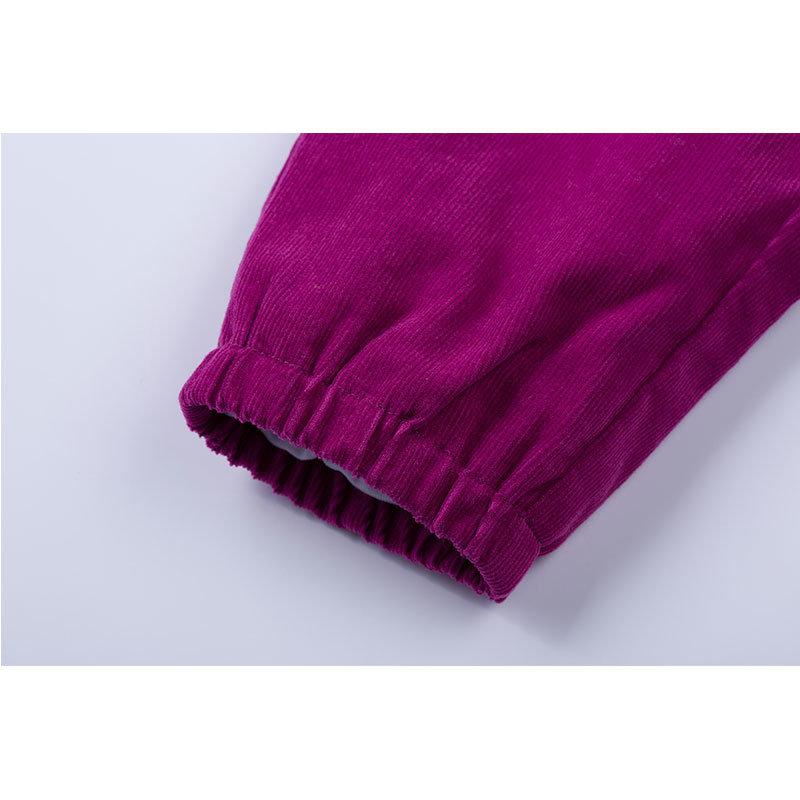 贝贝怡 2014新品婴儿服饰 灯芯绒长裤男女宝宝长裤143K026(紫红 90cm)第3张商品大图