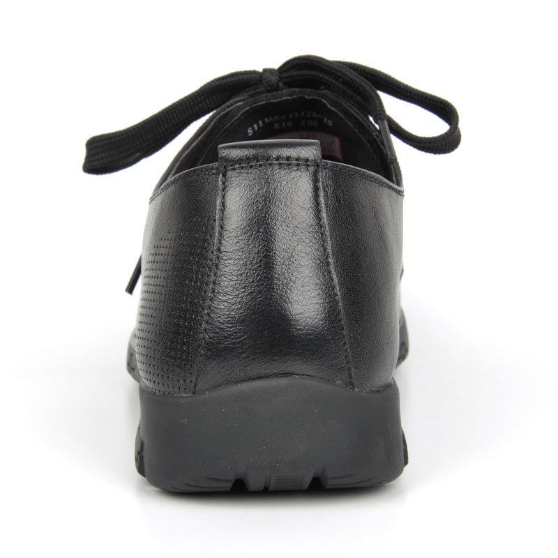 意尔康春秋款男系带低帮单鞋舒适百搭真皮皮鞋韩版商务休闲潮61342(黑色 61342 38)第5张商品大图