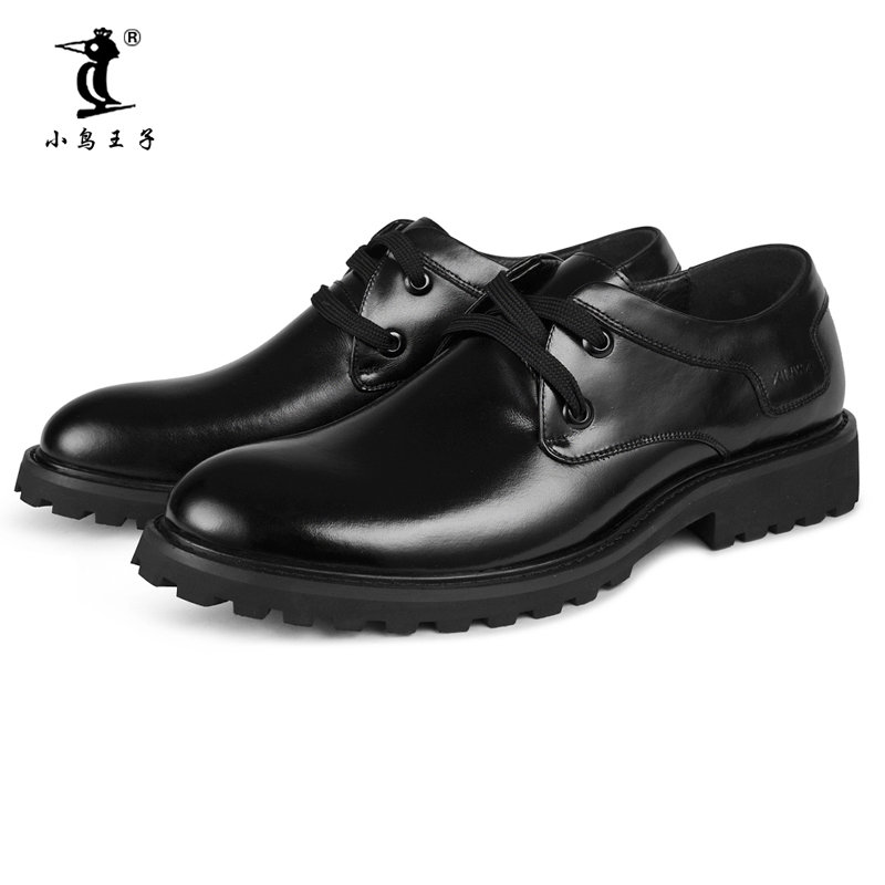 小鸟王子 2014冬季新款男士皮鞋正装鞋通勤男鞋婚鞋头层牛皮鞋8811(黑色 43)第4张商品大图