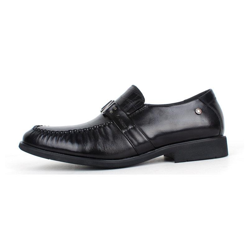 意尔康男鞋经典商务男圆头低帮真皮皮鞋平跟鳄鱼纹正装单鞋潮93361(黑色 44)第4张商品大图