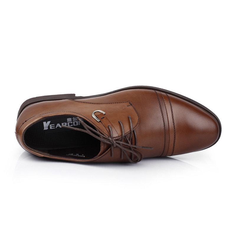 意尔康男鞋时尚英伦商务正装皮鞋男士办公室真皮百搭皮鞋男51301(棕色 51301 38)第4张商品大图